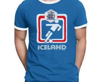 ICELAND Mens T-Shirt FOOTBALL World Cup 2018 New Retro Square