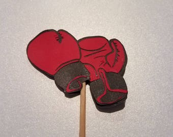 12 Boxing Gloves Cupcake Toppers