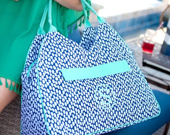 Monogrammed Beach Bag-Tide Pool Beach Bag-Navy and White Beach Bag-Preppy Beach Bag-Beach-Spring Break-Monogrammed Gifts-Viv & Lou Tide Pool