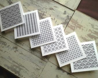 6 Monochrome mini notecards set // mini note cards// blank notecards// blank cards// mini cards