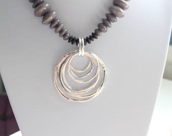 Purple Stone and Black Horn Silver Circles Necklace