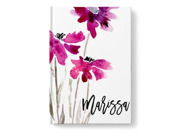 Watercolor Personalized Journal, Floral Pattern, Personalized Journals for Women, Gift jn0014