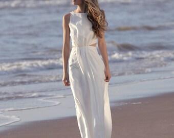 Simple wedding dress, silk wedding dress, backless, beach wedding, bohemian wedding, wedding dress alternative, low back - Xylia dress