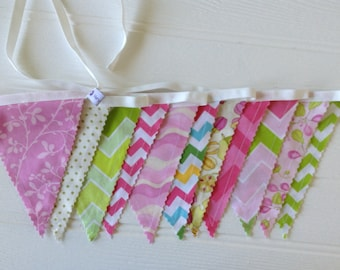 Pink and green chevron and floral bunting or banner