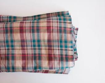 By the Yard Plaid Cotton Fabric, Cotton Lightweight Fabric Yardage, Emerald Green Pink Purple