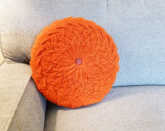 Vintage Tufted Corduroy Throw Pillow - Round Dark Orange 1960s Accent Pillow with Button Trim - Mid-Century Home Decor