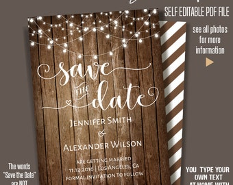 Save the Date, Printable save the date, Rustic wedding, Instant Download Wedding template, Self Editable PDF A203