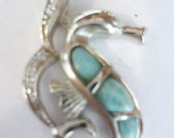 "MEMORIAL DAY SALE Magnificent Dominican Larimar ""Seahorse"" Pendant Sterling Silver Setting Free .925 Silver Chain Free U.S. Shipping"