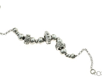 Bracelet with nuggets in 925 sterling silver plated white gold adjustable fit