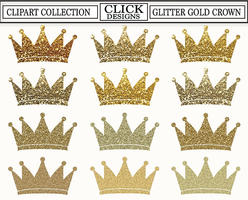 Crown glitter gold digital clipart glitter gold sparcle zoom stopboris Image collections
