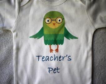 Teacher's Pet bodysuit/Teacher's Pet baby outfit/Teacher's Baby outfit/Owl baby outfit/Owl bodysuit/Teacher's Pet shirt