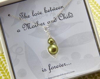 Two peas in a pod necklace, Mother and Child necklace, mothers necklace, new mom gift, baby shower gift