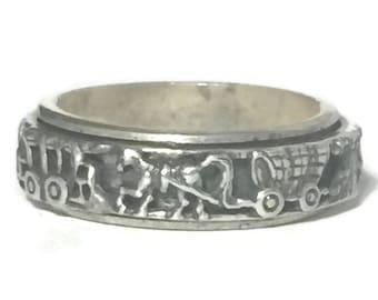 Vintage Horse Ring Size 8 Wagon Train Vintage Horse Band Size 8  Horse Spinner Ring Size 8 Thumb Ring Size 8 Thumb Band Size 8