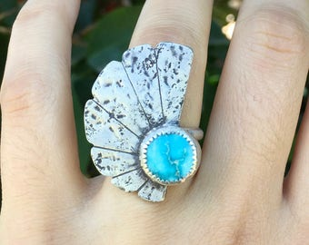 Size 5.75 Eclipse Concho Ring With White Water Turquoise