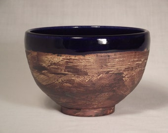 Handmade pottery blue ceramic soup bowl cobalt and brown medium size handthrown stoneware