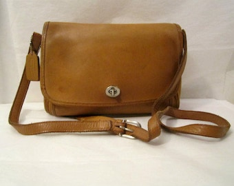 COACH Purse, Coach Camel-Brown Leather Bag, Coach Durable Leather Classic