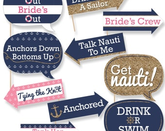 Funny Bachelorette Party Last Sail Before The Veil Photo Booth Props - Nautical Bridal Shower Party Photo Booth Prop Kit - 10 Props & Dowels