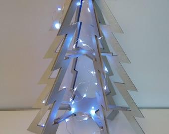 Christmas tree design wood modern metallic grey
