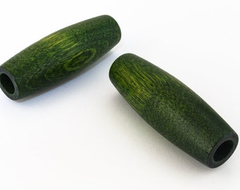 18mm x 50mm Green Wood Tube Bead (2 Pcs) #WOOD036