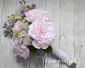 Wildflower and Peony Bridal Bouquet - Rustic Bouquet, Lavender Bouquet, Shabby Chic Bouquet