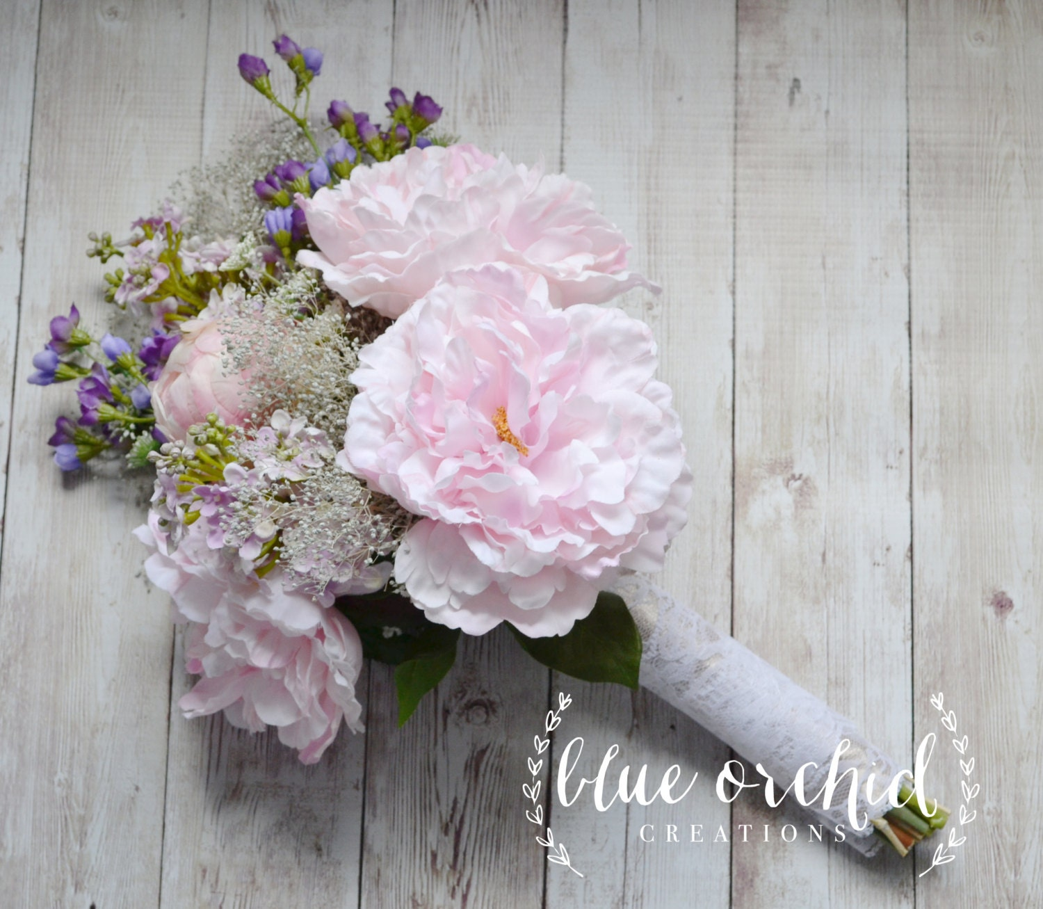 Wildflower and Peony Bridal Bouquet Rustic Bouquet Lavender