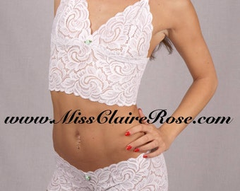 Handmade bralette and panties set in wedding white made to order