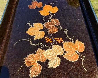 Sparkly Lacquerware tray made in Japan wrapped handles fall autumn decor grape vine graphic wine serving tray