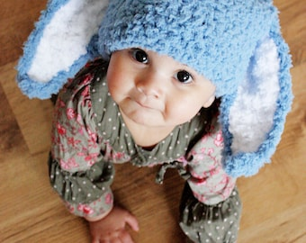 12 to 24m Blue Bunny Hat Crochet Boy Baby Hat Blue Bunny Ears Rabbit Hat Boy Toddler Prop  Costume  Crochet Baby Gift