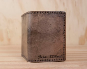 Mens Wallet Trifold // Personalized Wallet in the Script Pattern in Antique Black
