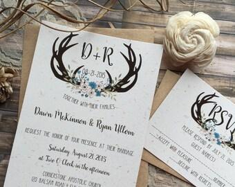 Rustic Wedding Invitation, Antler Wedding Invitation, Shabby Chic Wedding Invitation, Kraft Wedding Invitation, Country Wedding