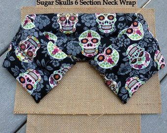 CHERRY PIT Heating Pad, Cherry Pit Neck Wrap, Microwavable, Hot Cold Therapy, Sugar Skulls, InHer Inner Peace