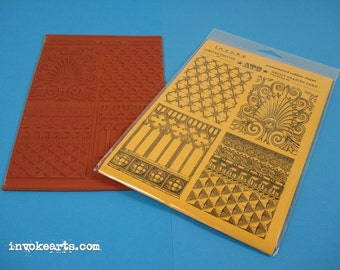 Traditional ATC Backgrounds / Invoke Arts Collage Rubber Stamps / Unmounted Stamp Set