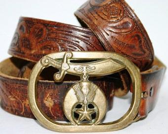 Vintage Shriner Carved Leather Belt