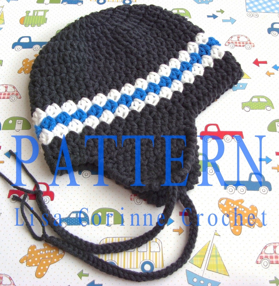 Boy earflap hat easy crochet pattern striped beanie cap zoom bankloansurffo Images