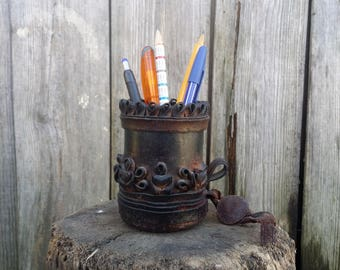Vintage pen holder for desk, Leather pencil holder, Pen holder, Pencil holder, Desk pen holder, Desk organizer, Pencil holder