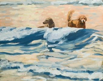 Golden Retriever Art - digital print of an original oil painting - Wet Dogs at Dawn
