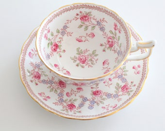 TEA CUP, Vintage, English Bone China Tea Cup and Saucer by Royal Chelsea, Replacement China, High Tea Party, Gifts for Her - ca. 1943 - 1966