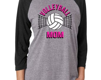Volleyball Mom Shirt - Raglan Volleyball Shirt - Football Mom Shirt - Raglan - Volleyball Net - Sports Shirt -Gift for Mom - Ladies Clothing