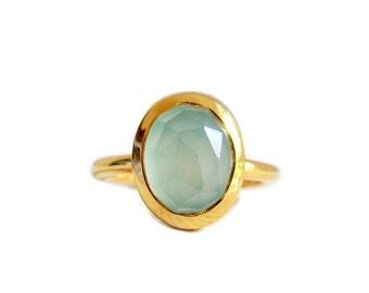 Gold Chalcedony Ring, 14k Gold Aqua Chalcedony Ring, Stackable Ring, Gold Ring, Blue Chalcedony Ring