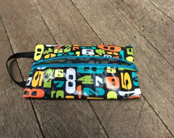 ON SALE Crayon / Pencil Pouch Laminated Cotton Numbers