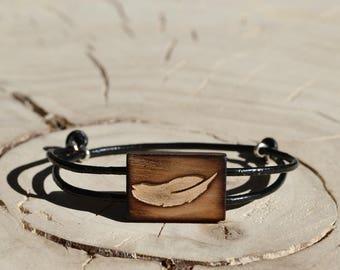 Bracelet Rectangle Bois Récupéré et Argent - Plume