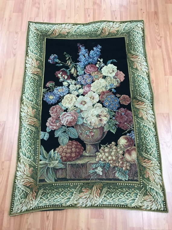 """2'7"""" x 3'10"""" French Tapestry - Floral Design"""