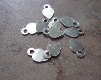 10 Drop, Hill Tribes, fine silver, 4x4mm heart.  JD204