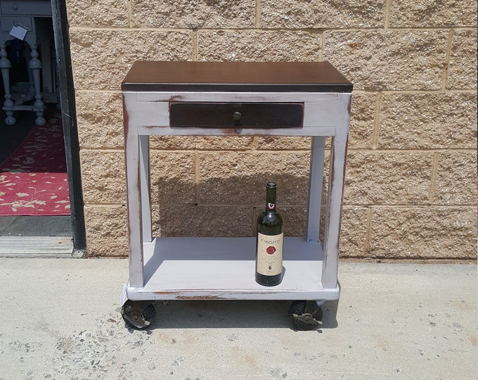 PICK UP ONLY, Vintage industrial style table, cart, stained wood, bar cart, liquor, server, rustic, farmhouse, distressed, country cottage