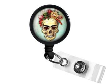 Skull Roses Photo Glass / Bottle Cap Retractable ID Badge Reel, Nurse Badge Reel
