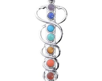 Snake silver plated - 7 chakra sword pendant