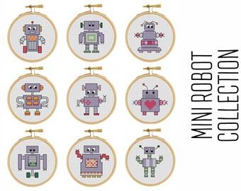 Mini Robot Collection - cross stitch pattern - Mini Robot - Pixel Art - Modern Cross Stitch
