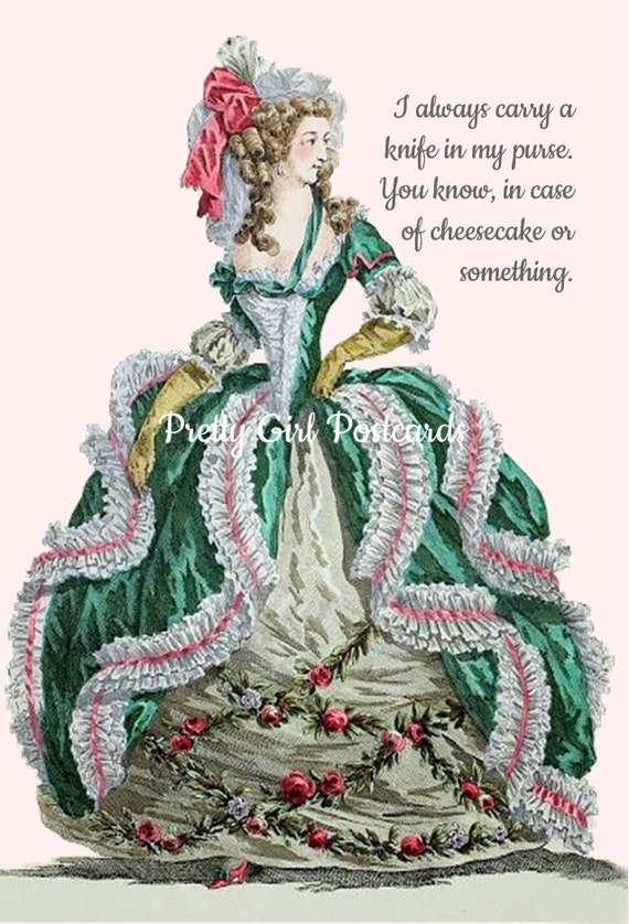 "Fun Greeting Postcard ""I Always Carry A Knife In My Purse. You Know, In Case Of Cheesecake Or Something."" Marie Antoinette Card Pretty Girls"