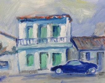 Oil painting of an Old House of Athens