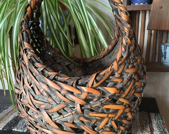 Vintage Japanese IKEBANA Handwoven Bamboo Basket SIGNED